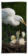 Great Egret With Chicks Bath Towel