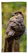 Great Horned Owl At Attention Bath Towel