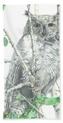 Great Horned Owl Perched In A Tree Bath Towel