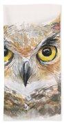 Great Horned Owl Watercolor Bath Towel by Olga Shvartsur