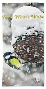 Great Tit In The Snow Card Bath Towel