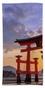 Great Torii Of Miyajima At Sunset Bath Towel
