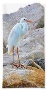 Great White Heron Of Florida Bath Towel