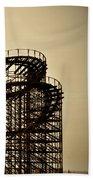 Great White Roller Coaster - Adventure Pier Wildwood Nj In Sepia Triptych 3 Bath Towel