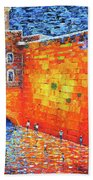 Wailing Wall Greatness In The Evening Jerusalem Palette Knife Painting Bath Towel