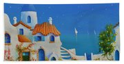 Greek Blue Santorini A Greek Fairytale Bath Towel