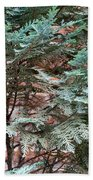 Green And Red - Slender Cypress Branches Over Rough Roman Brick Wall Bath Towel