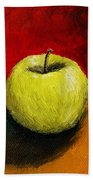 Green Apple With Red And Gold Hand Towel