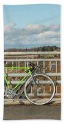 Green Bicycle On Bridge Bath Towel