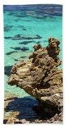 Green Blue Ocean Water And Rocks Bath Towel