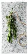 Green Fresh Rosemary On Granite Background Bath Towel