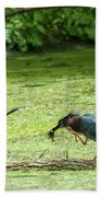 Green Heron Lunch Bath Towel