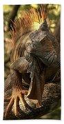 Green Iguana Bath Towel