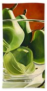 Green Pears In Glass Bowl Bath Towel