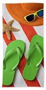 Green Sandals On Beach Towel Bath Towel