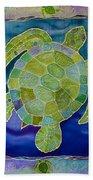 Green Sea Turtle Silk Painting Bath Towel