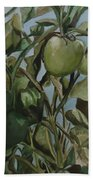 Green Tomatoes On The Vine Bath Towel