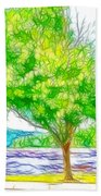 Green Trees By The Water 3 Bath Towel