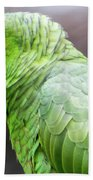 Green Tropical Parrot, Side View. Bath Towel