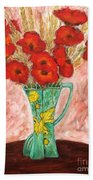 Green Vase And Poppies Bath Towel