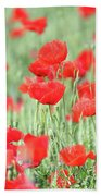 Green Wheat And Red Poppy Flowers Bath Towel