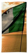 Flag Of Ireland At The Cliffs Of Moher Hand Towel