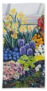 Greenhouse Flowers With Blue And Red Hand Towel