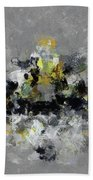 Grey And Yellow Abstract Cityscape Art Bath Towel