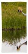 Grey Crowned Crane - Signed Bath Towel