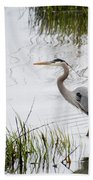 Grey Heron #3 Bath Towel