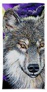 Grey Wolf And Full Moon Bath Towel