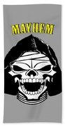 Grinning Mayhem Death Skull Bath Towel