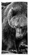 Grizzly Bear In Black And White Bath Towel