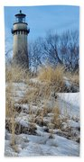 Grosse Point Lighthouse Winter Dunes Bath Towel