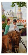 Group Of Couples On Horseback Drinking And Partying At The Sevil Bath Towel