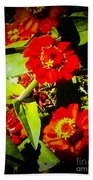 Group Of Small Red Zinnia's Bath Towel