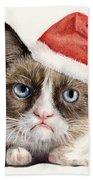 Grumpy Cat As Santa Hand Towel by Olga Shvartsur