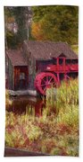 Guildhall Grist Mill In Fall Bath Towel