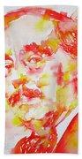 H. G. Wells - Watercolor Portrait Bath Towel