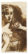 Half-length Sketch Of A Young Woman Bath Towel