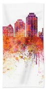 Halifax V2 Skyline In Watercolor Background Bath Towel