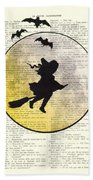 Witch Flying With Full Moon Bath Towel