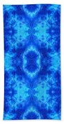 Hand-dyed Blue And Turquoise Fabric With Zig Zag Stitch Details  Bath Towel