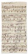 Handwritten Score For Waltz For Piano, Opus 39 Bath Towel