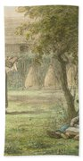 Hanging Out The Laundry By Jean-francois Millet Bath Towel