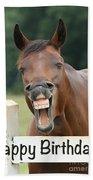 Happy Birthday Smiling Horse Bath Towel