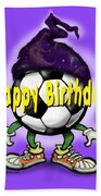 Happy Birthday Soccer Wizard Bath Towel