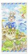 Happy Bunny Building Castle Bath Towel