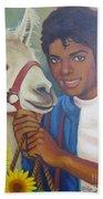 Happy Michael Jackson With His Pet Llama  Bath Towel