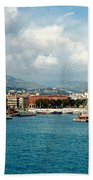 Harbor Scene In Nice France Bath Towel